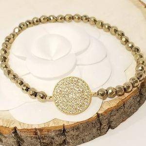 NEW Antique Gold Pave CZ Stretch Bracelet